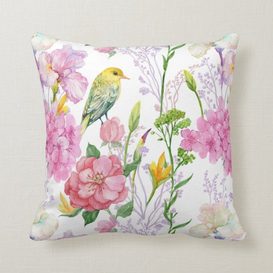 Irises Hydrangeas Bird Greenery Floral Pillow