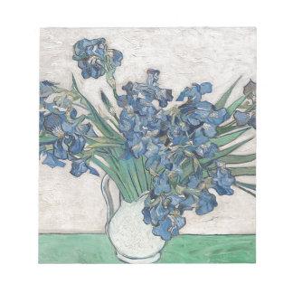 Irises in a vase notepad