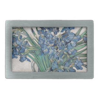 Irises in a vase rectangular belt buckle