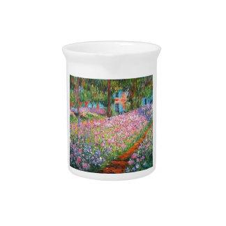 Irises in Artist's Garden Beverage Pitcher