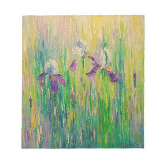 Irises in field notepad