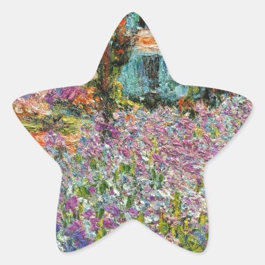 Irises In Monet's Garden Star Sticker