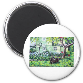 irises in the back yard 2 inch round magnet