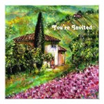 "IRISES IN TUSCANY,Green Purple Flower Field 5.25"" Square Invitation Card"