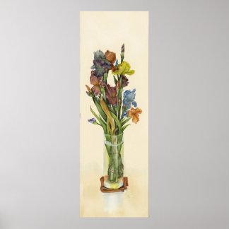 "Irises in Vase 36x12"" canvas poster"
