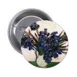 Irises in Vase by Vincent Van Gogh Pinback Button