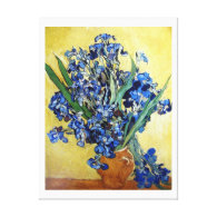 Irises in Yellow background. Vincent van Gogh Gallery Wrapped Canvas