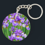 """Irises Keychain<br><div class=""""desc"""">Beautiful purple irises blooming in spring time</div>"""