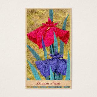 Irises oriental abstract flowers painting iris art business card