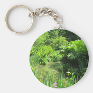 Irises & Primulas by Pond, Richmond Park Key Ring Basic Round Button Keychain