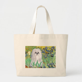 Irises - Shih Tzu (white) Large Tote Bag