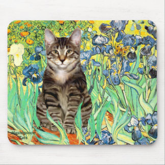 Irises - Tabby Tiger cat 30 Mouse Pad