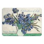 "Irises Van Gogh Celebration Funeral Announcement 5"" X 7"" Invitation Card"