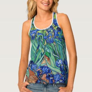 Irises Vincent van Gogh Blue Flower Field Art Tank Top