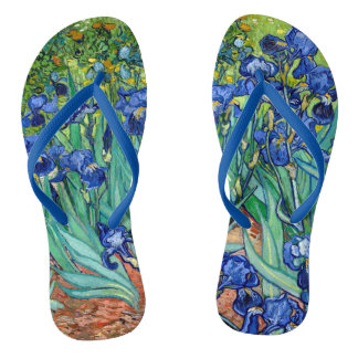 Irises Vincent van Gogh Painting Flip Flops
