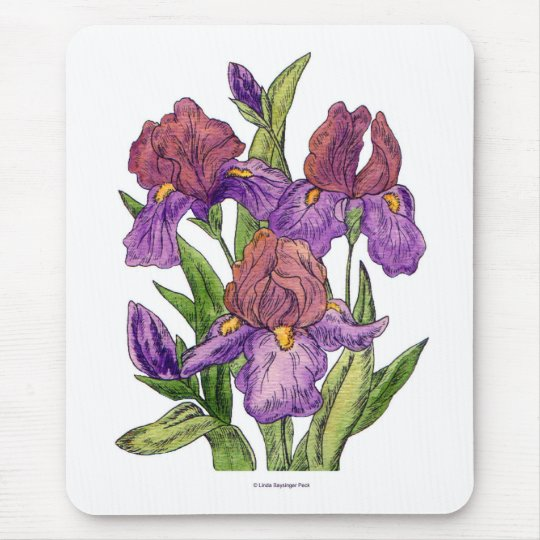 Irises Watercolor Mouse Pad