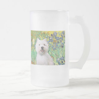 Irises - Westie 2 16 Oz Frosted Glass Beer Mug