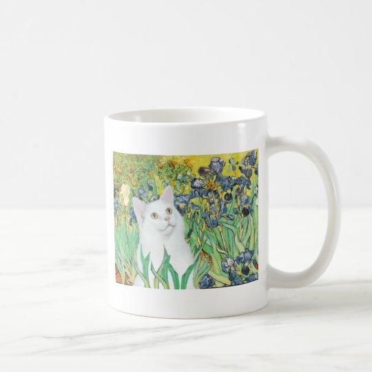 Irises - White cat Coffee Mug