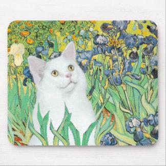 Irises - White cat Mouse Pad