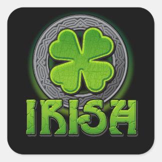 Irish 4-leaf clover square stickers