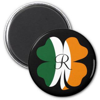 Irish 4 Leaf Clover with Monogram Magnet