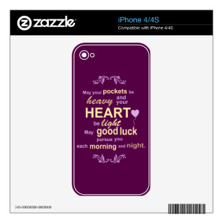 Irish Abundance Happiness and Good Luck Blessing Decals For The iPhone 4S