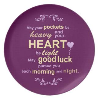 Irish Abundance Happiness and Good Luck Blessing Melamine Plate