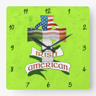 Irish American Celtic Cross Square Clock