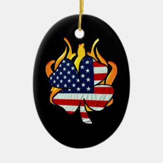 Irish American Firefighters Ceramic Ornament
