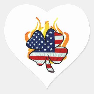 Irish American Firefighters Heart Sticker