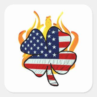 Irish American Firefighters Square Sticker
