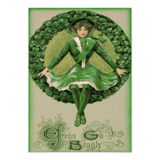 Irish American Flag Harp of Erin Shamrock Card