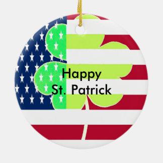 Irish American Flag Shamrock Clover St. Patrick Ceramic Ornament