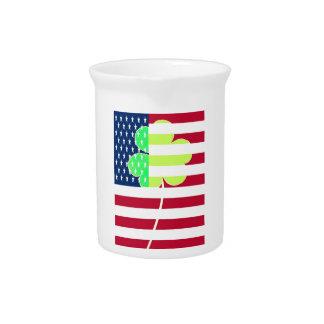 Irish American Flag Shamrock Clover St. Patrick Pitcher