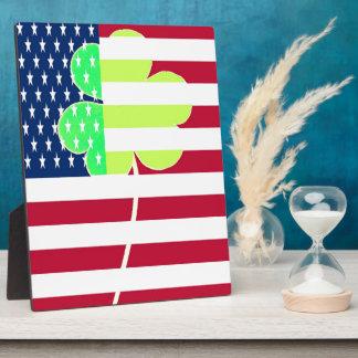 Irish American Flag Shamrock Clover St. Patrick Plaque