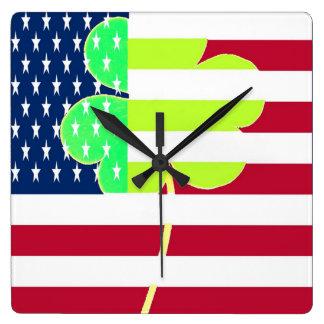Irish American Flag Shamrock Clover St. Patrick Square Wall Clock