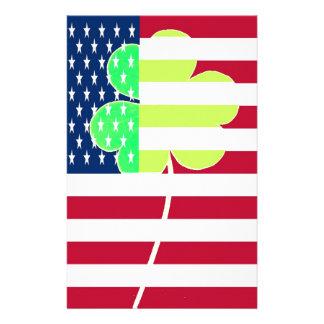 Irish American Flag Shamrock Clover St. Patrick Stationery
