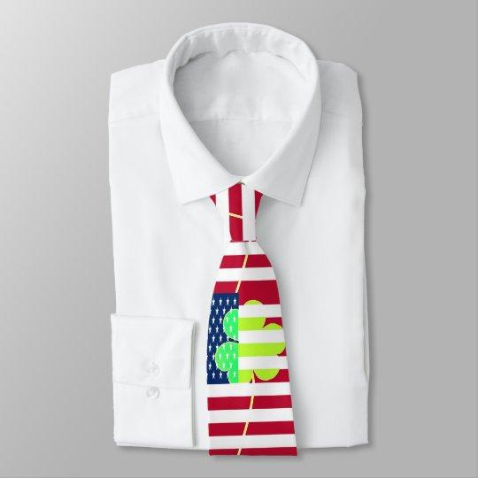 8ad358475eb7 Irish American Flag Shamrock Clover St. Patrick Tie
