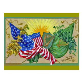 irish american flags postcard