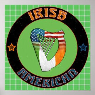 Irish American Harp Poster Print