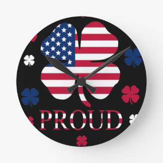 Irish-American Luck Four Leaf Clover Wallclock