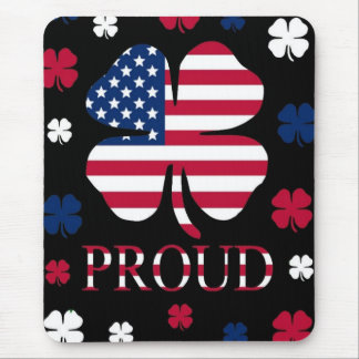 Irish-American Luck Four Leaf Clover Mouse Pad