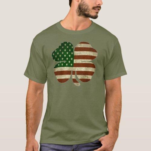 Irish American Shamrock Patriot Flag T_Shirt