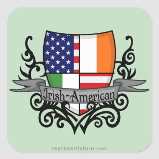 Irish-American Shield Flag Square Sticker
