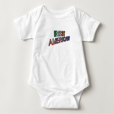 USA Themed Irish-American Text for Baby-Jersey-Bodysuit-White Baby Bodysuit