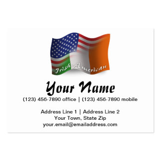 Irish-American Waving Flag Large Business Cards (Pack Of 100)