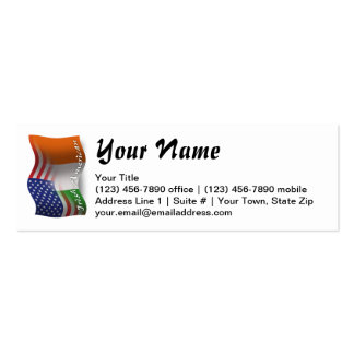 Irish-American Waving Flag Double-Sided Mini Business Cards (Pack Of 20)