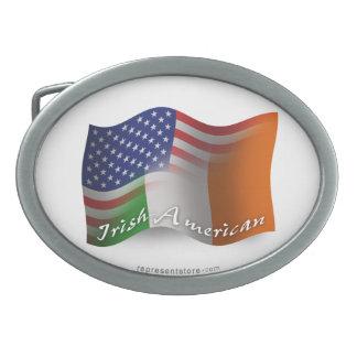 Irish-American Waving Flag Oval Belt Buckle