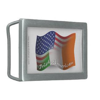 Irish-American Waving Flag Rectangular Belt Buckle