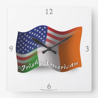 Irish-American Waving Flag Square Wall Clock
